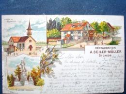 Suisse  ,saint Jacob ,restauration A. Seiler Müller En 1900..     ....petite Marque Bord Gauche - Schweiz