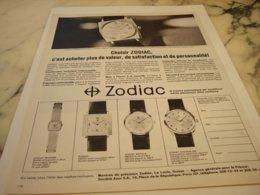 ANCIENNE PUBLICITE  MONTRE SUISSE ZODIAC 1966 - Gioielli & Orologeria