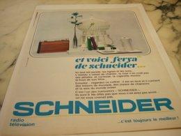 ANCIENNE PUBLICITE  FERYA TRANSISTOR DE SCHNEIDER  1966 - Music & Instruments