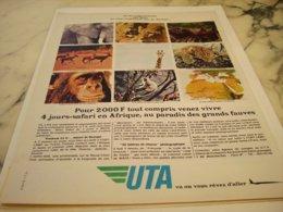 ANCIENNE PUBLICITE 4 JOURS EN  AFRIQUE  ET   UTA 1966 - Advertisements