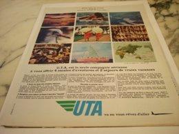 ANCIENNE PUBLICITE NOTRE TOUR DU MONDE AVEC  UTA 1966 - Advertisements