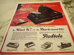 ANCIENNE PUBLICITE MINI CASSETTE  RADIOLA 1966 - Music & Instruments