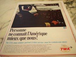 ANCIENNE PUBLICITE AMERIQUE ET TWA USA 1966 - Advertisements