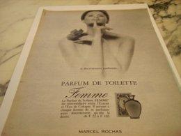 ANCIENNE PUBLICITE PARFUM  FEMME DE MARCEL ROCHAS  1966 - Perfume & Beauty