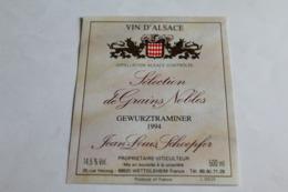 Etiquette Neuve Vin D Alsace  Gewurztraminer 1994 Jean Louis Schoepfer - Gewurztraminer