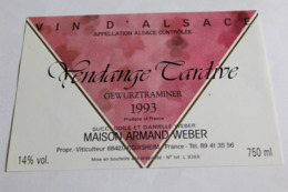 Etiquette Neuve Vin D Alsace  Gewurztraminer 1993 Maison Armand Weber 14o Vendange Tardive - Gewurztraminer