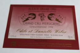 Etiquette Neuve Vin D Alsace  Gewurztraminer 1994 Grand Cru Pfersigberg Odile Et Danielle Weber 13,5o - Gewurztraminer
