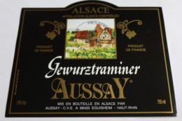 Etiquette Neuve Vin D Alsace  Gewurztraminer  Aussay  13o - Gewurztraminer