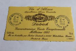Etiquette Neuve Vin D Alsace  Gewurztraminer    13,5o Dietrich 1993 - Gewurztraminer