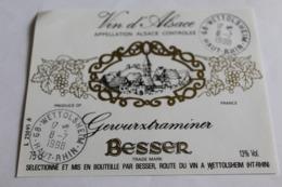 Etiquette Neuve Vin D Alsace  Gewurztraminer  13o  Besser - Gewurztraminer