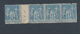 FRANCE - BANDE DE 4 N°YT 90 OBLITERES - COTE YT : 11€ - 1878 - 1876-1898 Sage (Type II)