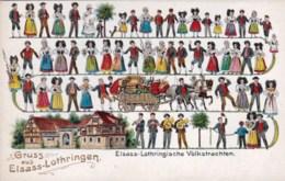 ALSACE / LORRAINE  - Gruss Aus ELSAAS LOTHRINGEN - Elsaas - Lothringische Volkstrachten - Carte Gauffrée - Alsace