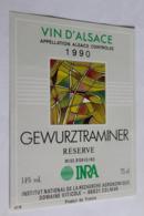 Etiquette Neuve Vin D Alsace  Gewurztraminer  14o INRA 1990 - Gewurztraminer