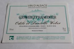 Etiquette Neuve Vin D Alsace  Gewurztraminer  13o Edile Et Danielle Weber - Gewurztraminer