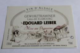 Etiquette Neuve Vin D Alsace  Gewurztraminer  13o  Lieu -dit Elsbourg Edouard Leider - Gewurztraminer