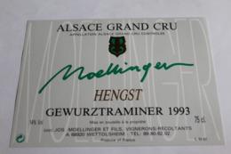 Etiquette Neuve Vin D Alsace  Gewurztraminer  14o Moellinger Hengst  1993 - Gewurztraminer