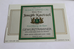 Etiquette Neuve Vin D Alsace  Gewurztraminer  13o Joseph Kartzel - Gewurztraminer