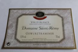 Etiquette Neuve Vin D Alsace  Gewurztraminer  13,5 O Domaine Saint Remy - Gewurztraminer