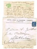 ENVELOPPE ET CONTENU A EN-TETE HOTEL GRAY D'ALBION CANNES ADRESSEE EN SUEDE - Marcophilie (Lettres)
