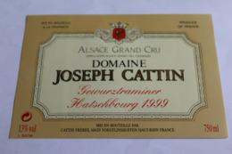 Etiquette Neuve Vin D Alsace  Gewurztraminer Hatschbourg 1999 Domaine Josef Cattin 13o - Gewurztraminer