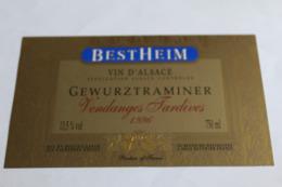 Etiquette Neuve Vin D Alsace  Gewurztraminer  13,5o Bestheim 1996 Vendanges Tardives - Gewurztraminer