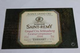 Etiquette Neuve Vin D Alsace  Gewurztraminer  14o Domaine Saint Remy Grand Cru Schlossberg 1996 - Gewurztraminer