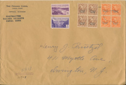 USA Canal Zone Registered Cover 1939 With 2 Block Of 4 Overprinted Stamps Big Size Cover (more Postmarks On The Backside - Canal Zone