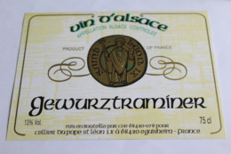 Etiquette Neuve Vin D Alsace  Gewurztraminer  13o Cellier Du Pape St Leon IX - Gewurztraminer