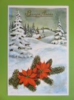 Carte Postale Bonne Année - Maison Sous La Neige - Branche De Sapin Et Fleurs Rouges - Neuve - Reflets Dorés - Nieuwjaar