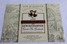 Etiquette Neuve Vin D Alsace  Gewurztraminer 13;5o  Cuvee Ste Gertrude 1998 - Gewurztraminer