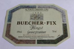 Etiquette Neuve Vin D Alsace  Gewurztraminer 14o Buecher Fix Hengst 1993 - Gewurztraminer