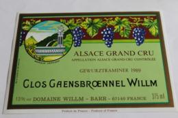 Etiquette Neuve Vin D Alsace  Gewurztraminer 13o Clos Gaensbroennel  Willm 1989 - Gewurztraminer