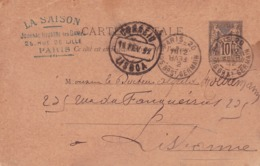 Carte Sage 10 C Noir G6a Oblitérée  à Destination De Lisbonne Repiquage L.Lebegue Tampon La Saison - Entiers Postaux