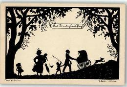 52496157 - Sonntagsausflug Frau Kind Hund Scherenschnitt - Autres Illustrateurs