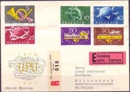 Schweiz Suisse 1949: UPU & Post : Zu 291-296 Mi 519-524 Yv 471-476 Eil-R-Brief Mit ET-o 75 Ann.UPU - BERNE LE MONUMENT - U.P.U.