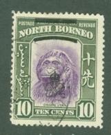 North Borneo: 1947   Pictorial 'Obliterating Bars' OVPT    SG341   10c    Used - North Borneo (...-1963)
