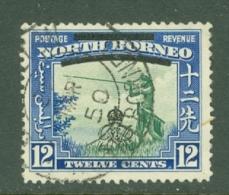 North Borneo: 1947   Pictorial 'Obliterating Bars' OVPT    SG342   12c  Green & Royal Blue  Used - North Borneo (...-1963)