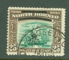 North Borneo: 1947   Pictorial 'Obliterating Bars' OVPT    SG345   25c    Used - North Borneo (...-1963)