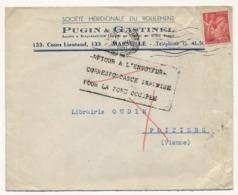 FRANCE - Enveloppe Affr 1F Iris Depuis Marseille 1941 - Retour Envoyeur - Correspondance Inadmise Pour Zone Occupée - France