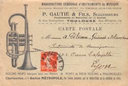 31 - Toulouse Manufacture Générale D'Instruments De Musique - P.GAUTIE & FILS - Bon De Commande - Toulouse
