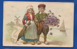 Carte En Relief   Couple D'Enfant Hollandais   écrite En 1910 - Altri