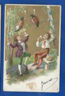 Carte Relief   Enfants Buvant Avec Des Hannetons  écrite En 1907 - Children