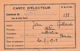 195 LES CHAMPS-GERAUX (22) - CARTE D'ÉLECTEUR - Renouvellement Du Conseil Municipal - Documents Historiques