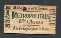 """Ticket De Métro Parisien """"type Rayonnant - Tour Eiffel"""" 55x30 (après 1905) Paris 2ème Cl - Métropolitain - RATP - Metro"""
