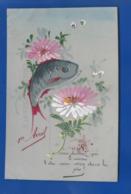 Carte En Celluloid   Peint à La Main   1° Avril Poisson   Fleurs - April Fool's Day