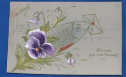 Carte En Celluloid    Peinture Fleurs Poisson    1° Avril - April Fool's Day