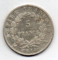 FRANCE, 5 Francs, 1814, Silver, KM #694.1 - J. 5 Francs