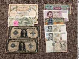 MONDE: Lot De 10 Billets 1923/1982 Dont 1 Faux. Tous états - Munten & Bankbiljetten
