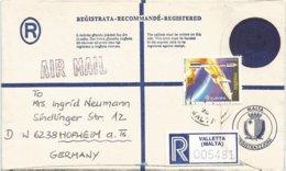 Malta 1992 Valletta Space Launch Registered Postal Stationary Cover - 1991