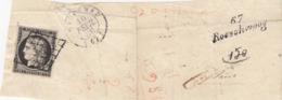 CERES N° 3 NOIR SUR BLANC,4 BELLES MARGES, SUR GRAND FRAGMENT, GRILLE DE HAGUENEAU BAS-RHIN ET CURSIVE 67/Roeschwoog 279 - 1849-1850 Ceres